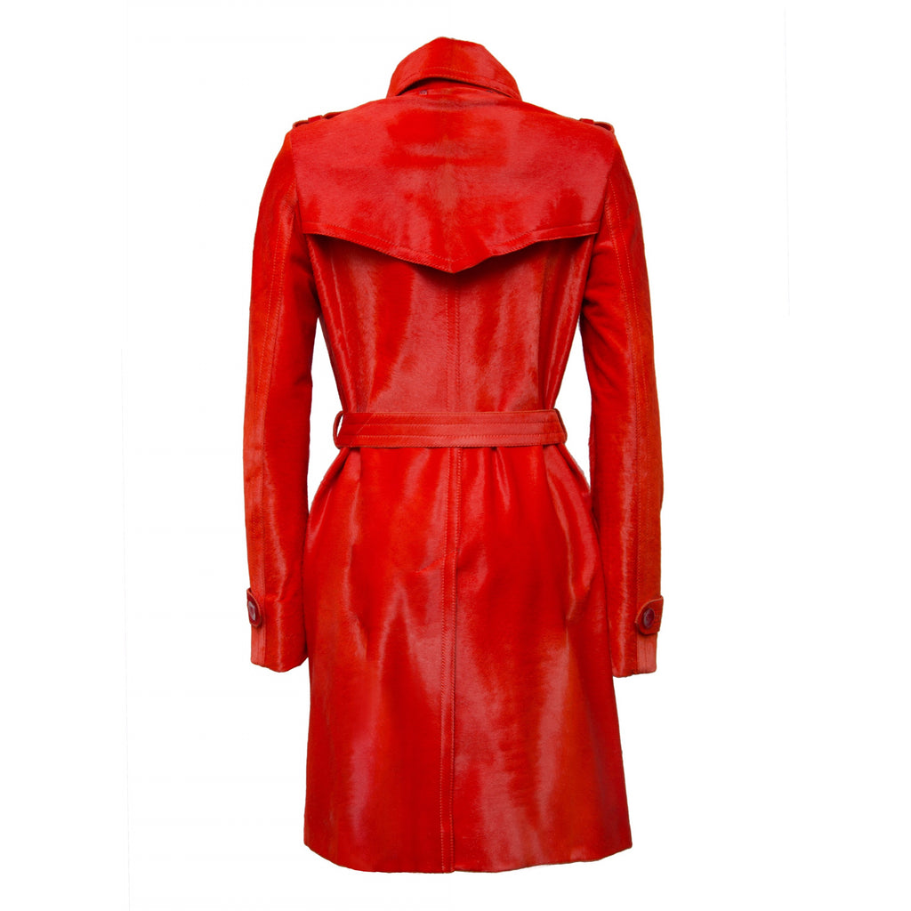 Blood Orange Calfskin Leather Coat