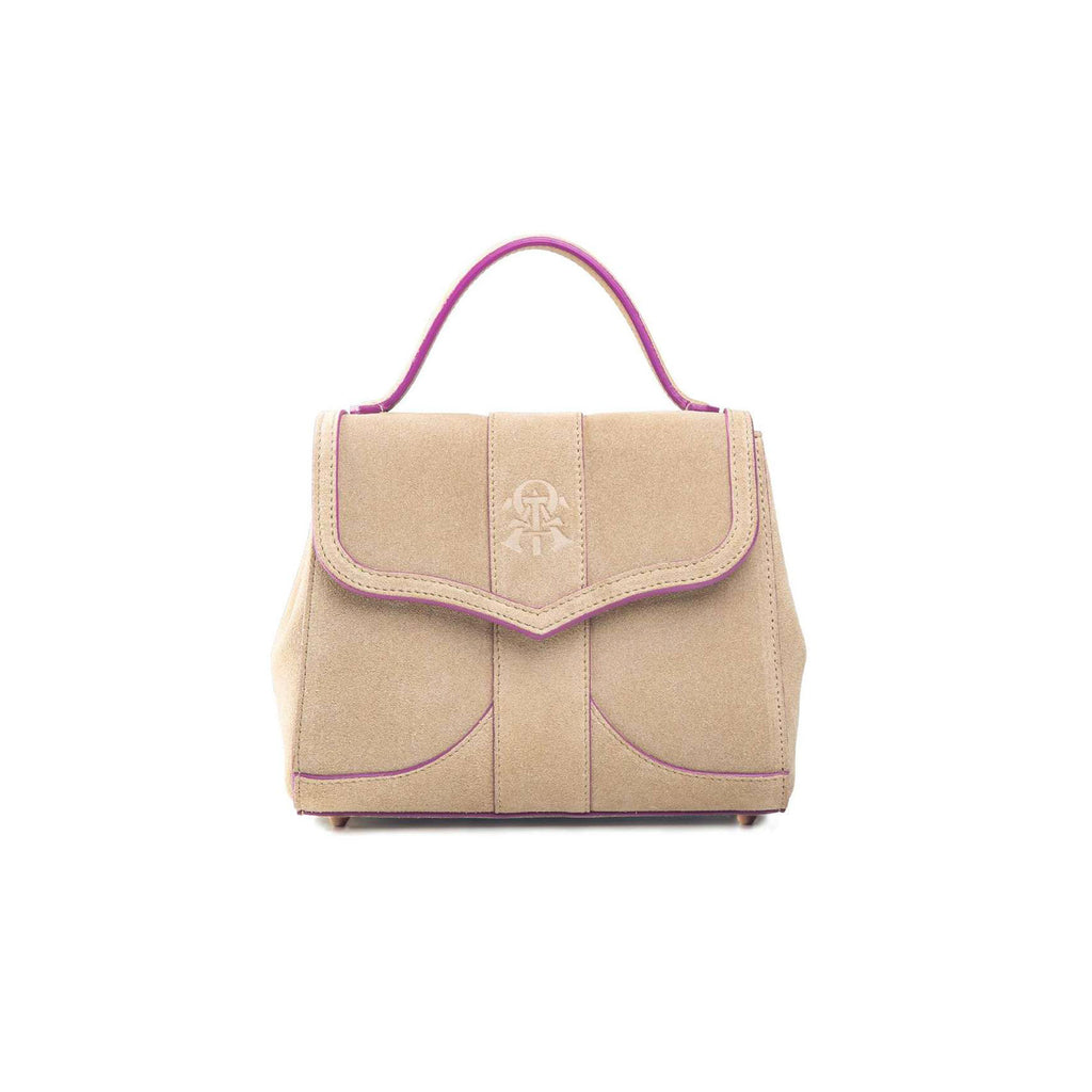 Alef Mini Aura Cappuccino Suede Leather Handbag