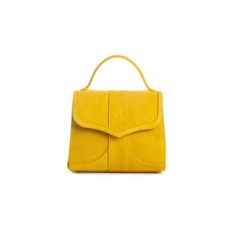 Alef Mini Aura Yellow Suede Leather Handbag