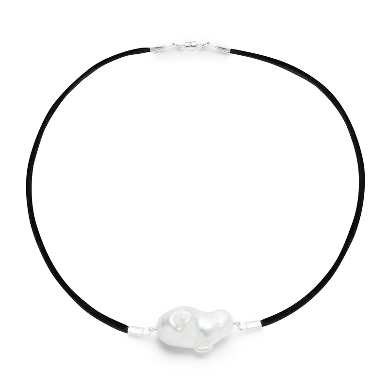 Baroque Freshwater Pearl & Satin Choker Necklace - Silver