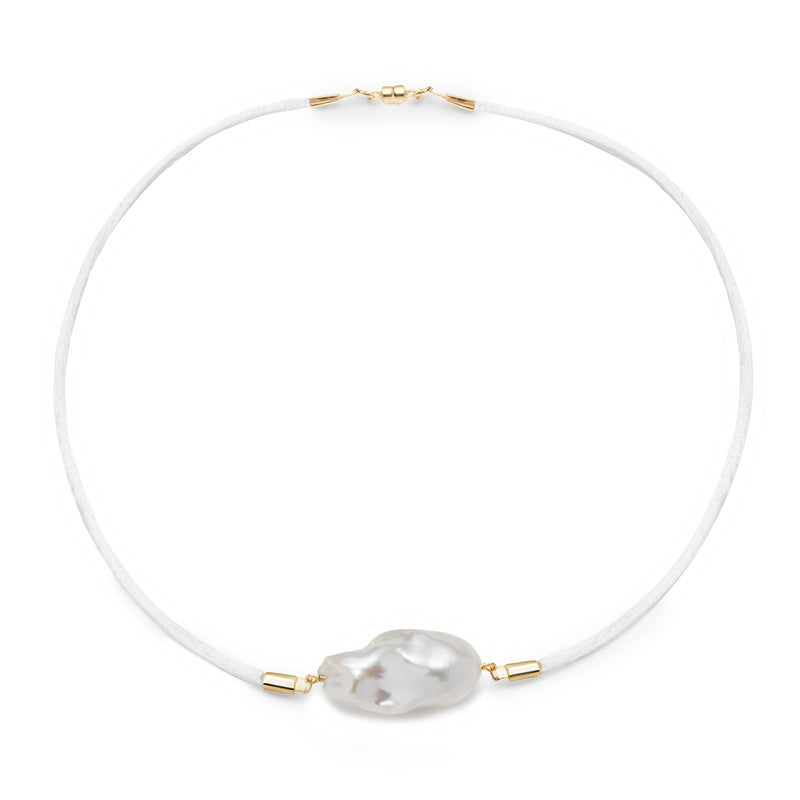 Jean Joaillerie Baroque Freshwater Pearl & Satin Choker Necklace