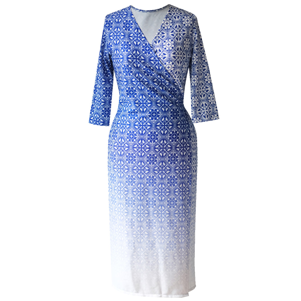 Ans.ein PERANAKAN BLU Wrap Dress-Dresses-DREEMS