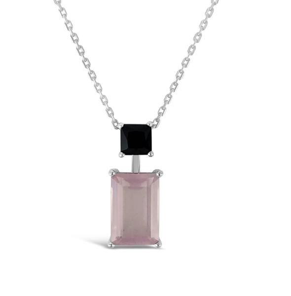 ELVERD DESIGNS Joy Pendant Rose Quartz & Black Onyx