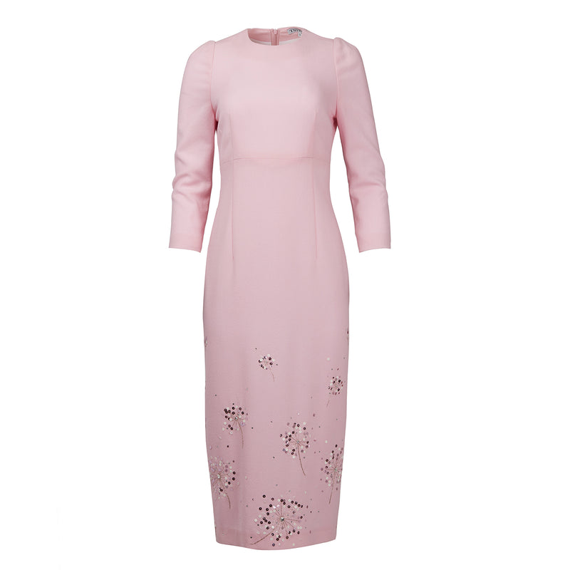 TSYBAN Pink Dress with Hand Embroidery-Dresses-DREEMS