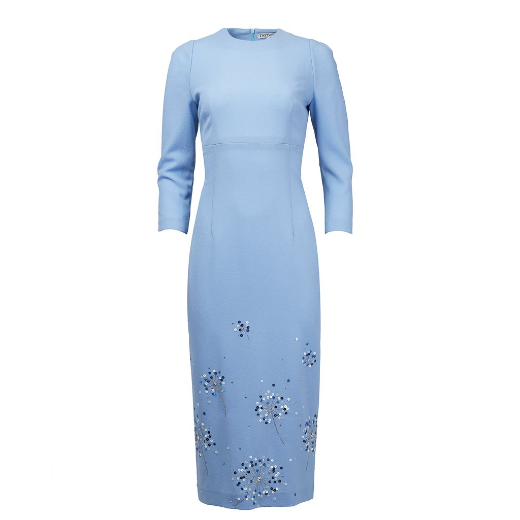 TSYBAN Blue Dress with Hand Embroidery-Dresses-DREEMS
