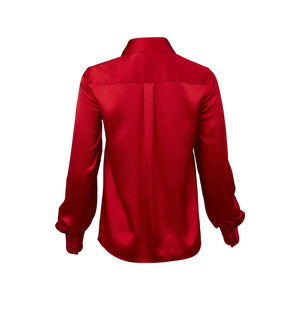 Victoria Hayes Clash Patch Pocket Blouse-Red