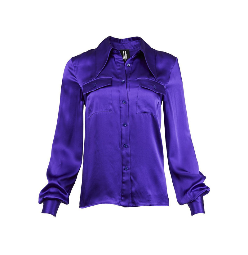 Clash Patch Pocket Blouse-Purple
