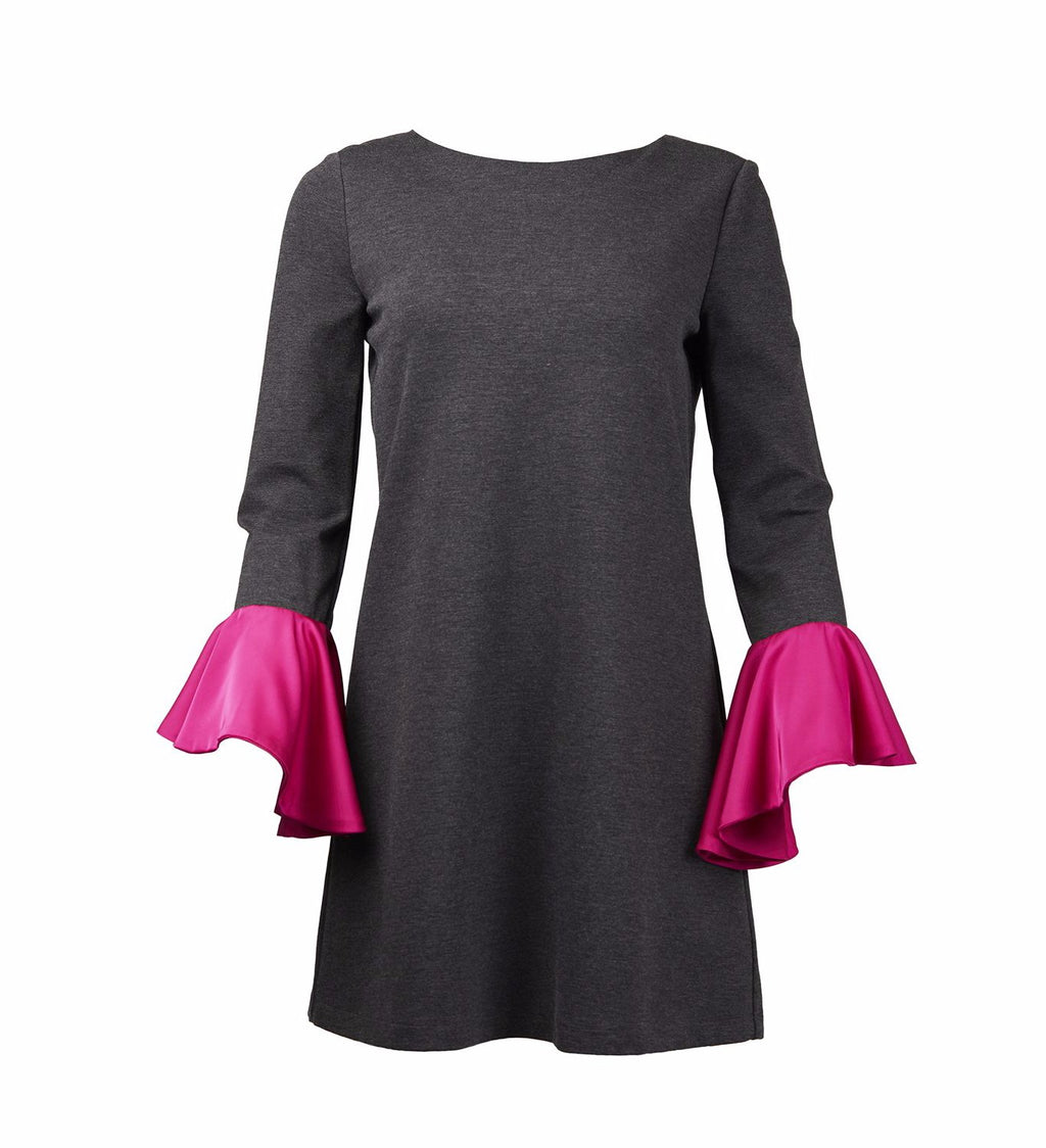 Dark Grey Dress With Pink Silk Frill