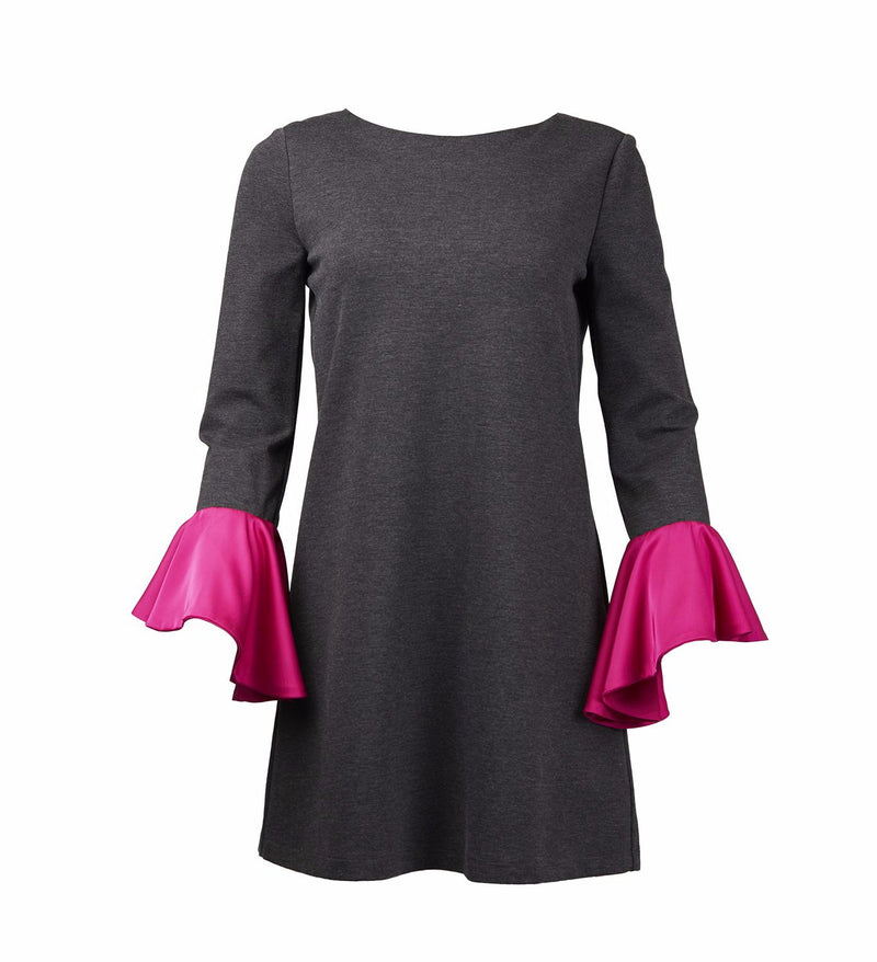 Whispering Wind Dark Grey Dress With Pink Silk Frill