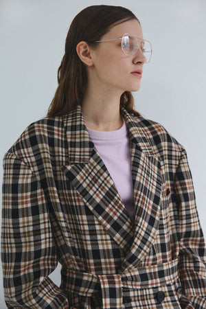 Nueque Belted Check Coat-Coats-DREEMS