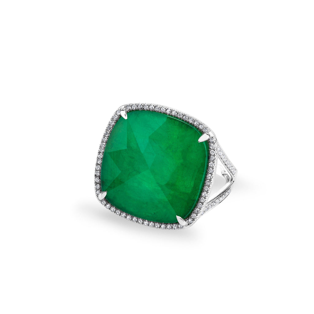 Anne Sisteron 14KT White Gold Emerald Diamond Triplet Cushion Cut Luxe Cocktail Ring
