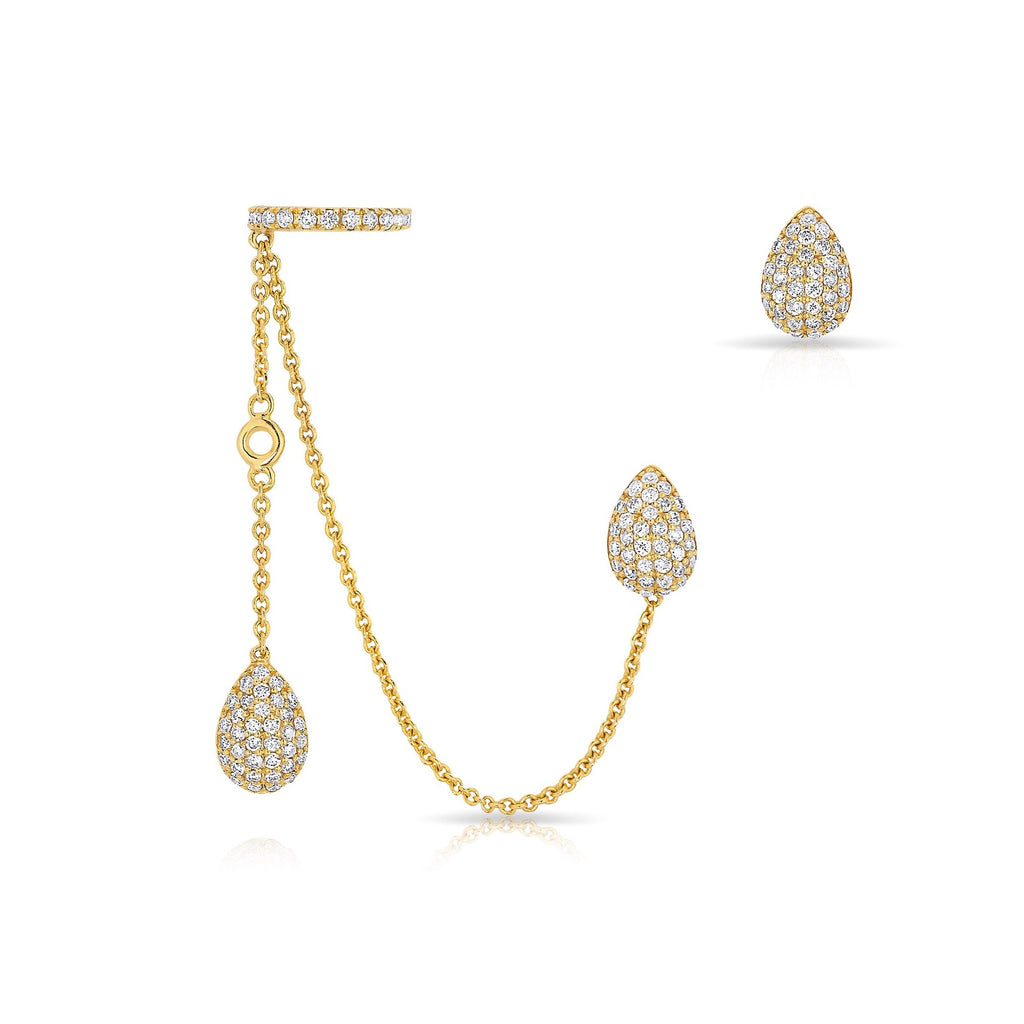 Anne Sisteron Pear Stud and Ear Cuff Chain Earrings