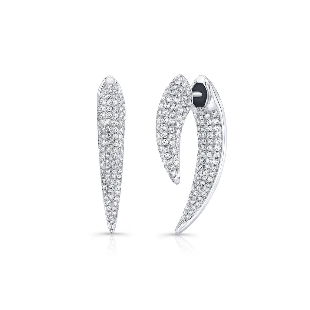 Anne Sisteron 14KT White Gold Diamond Sabre Earrings