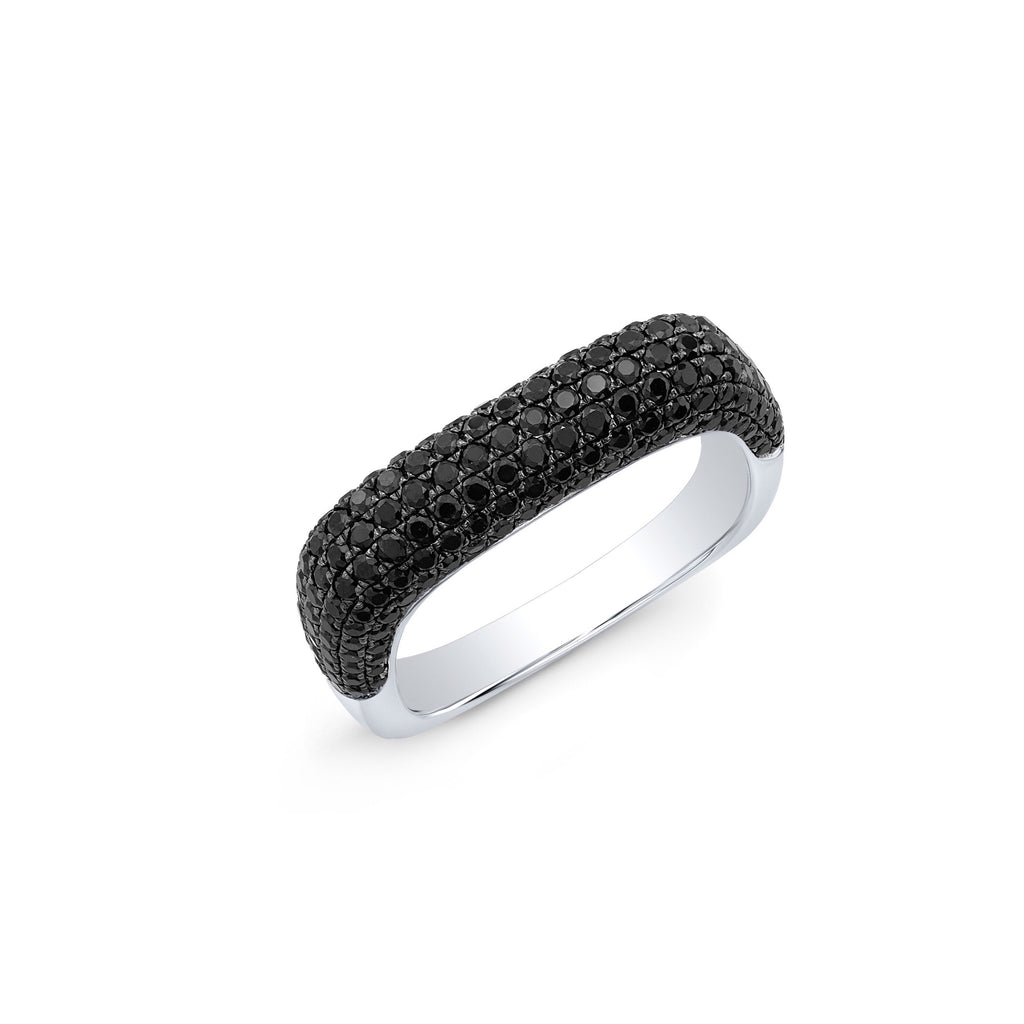 Anne Sisteron 14KT White Gold Black Spinel Square Ring
