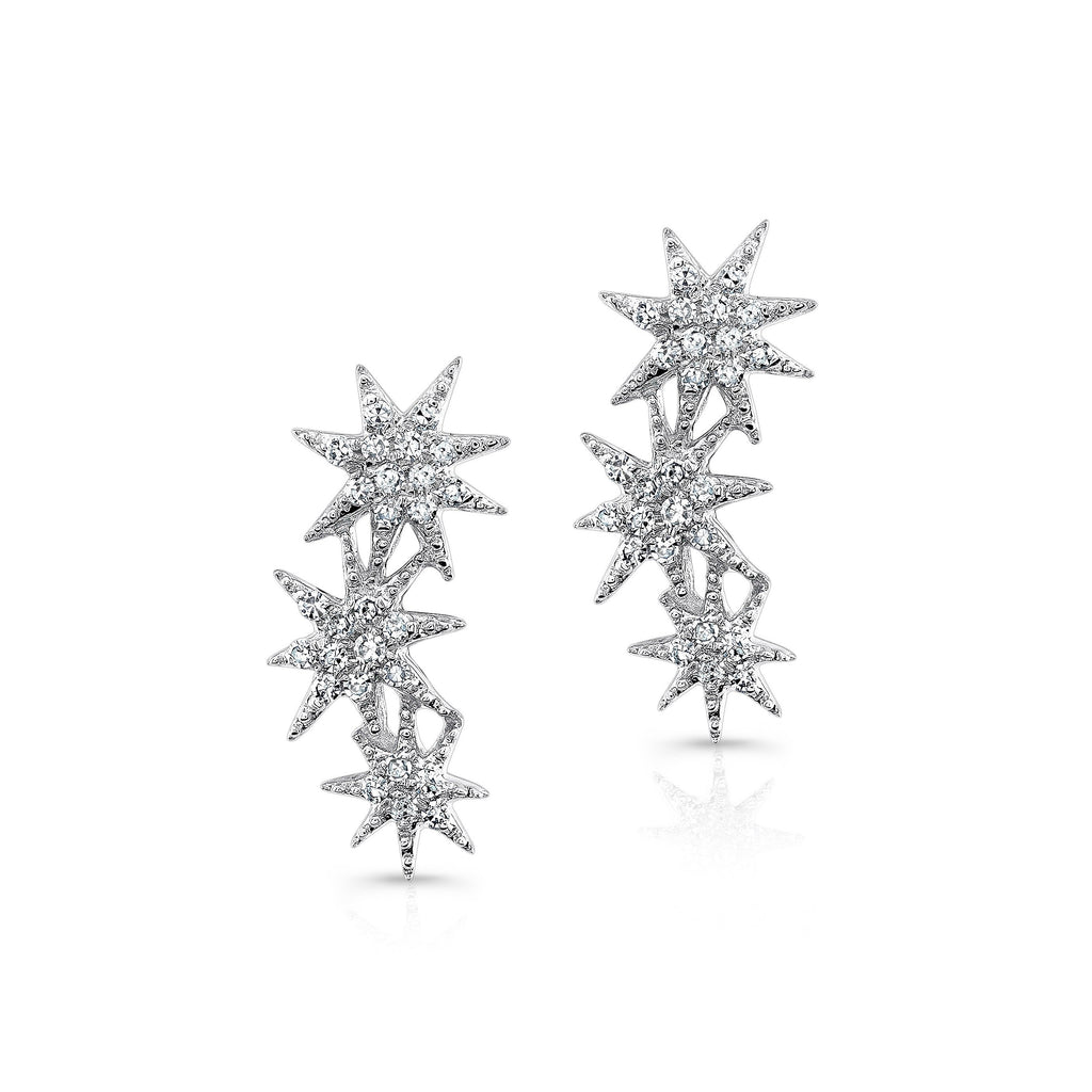 Anne Sisteron 14KT White Gold Diamond Triple Starburst Earrings