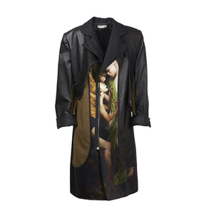 ATHANASIOU Coat with Leather & Print-Outerwear-DREEMS