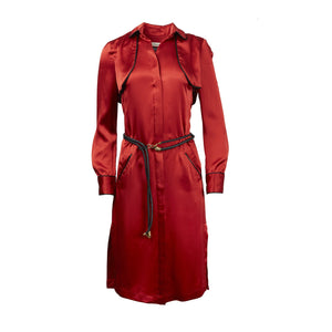 ATHANASIOU Silk Shirt Dress Red-Dresses-DREEMS
