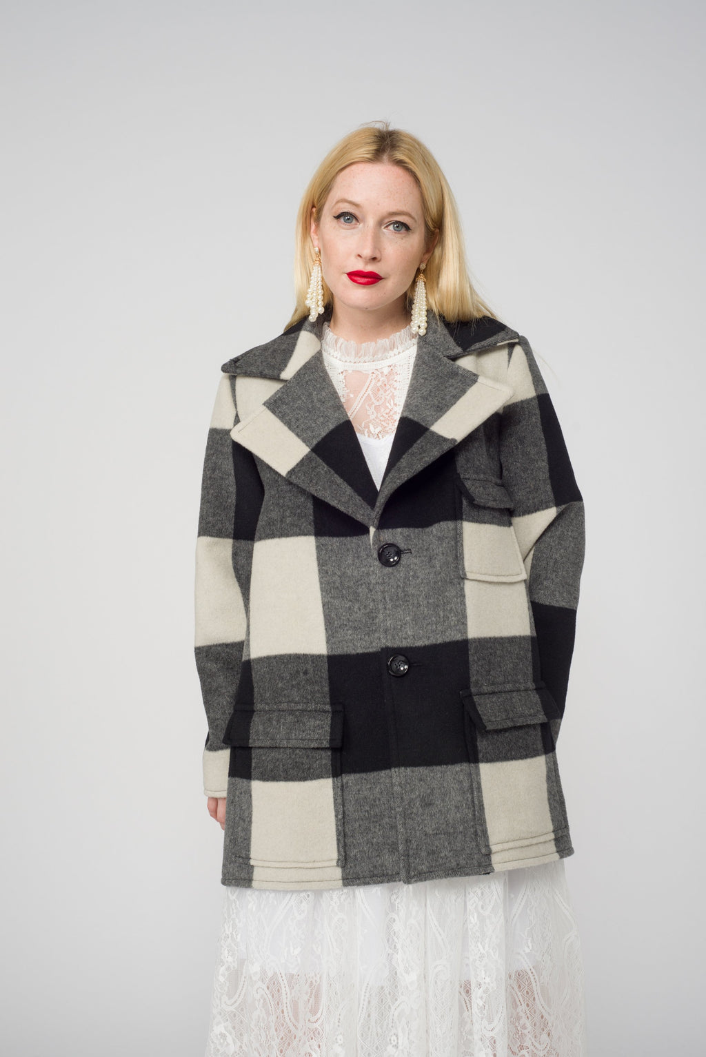 Carol Cao Black Coat in Wool with Check Motif-Coats-DREEMS