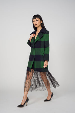 Carol Cao Green Coat in Wool with Check Motif-Coats-DREEMS