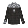 Ears of Buddha Franky Brown and Black Plaid with White Lace-Tops-DREEMS
