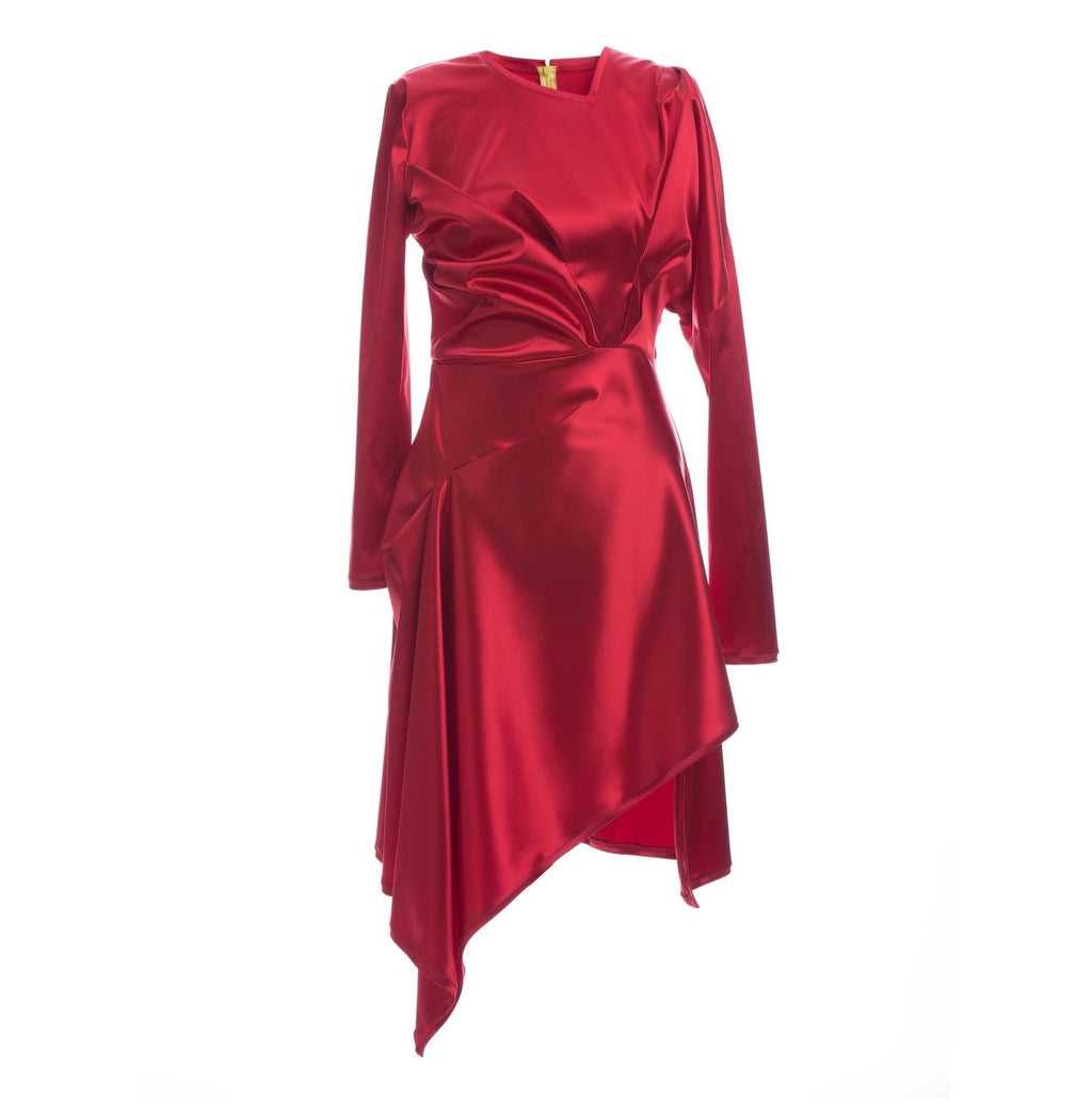 Elena Luka Red Asymmetrical Cut Dress-Dresses-DREEMS