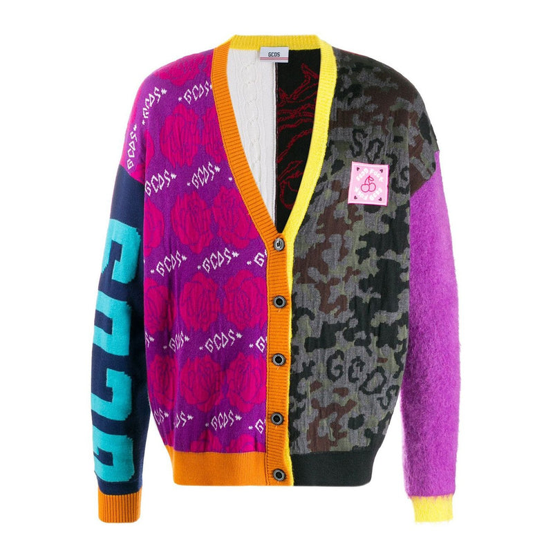 GCDS Patterned Block V-neck Cardigan-Tops-DREEMS