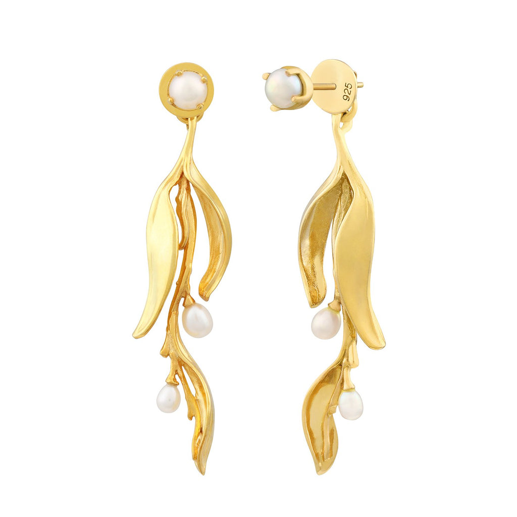 [in]trigue Reminisce Orchid Bud Earrings - Gold-Earrings-DREEMS