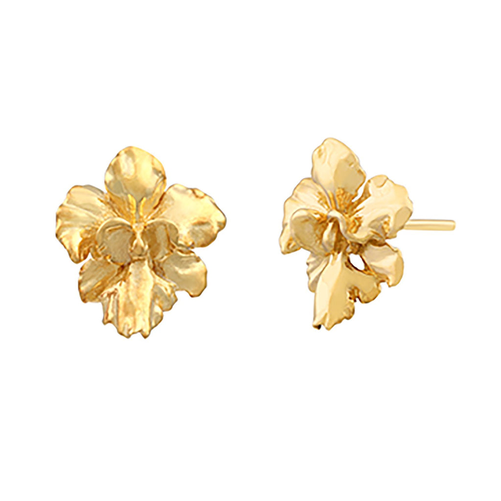 [in]trigue Reminisce Orchid Stud Earrings - Gold-Earrings-DREEMS