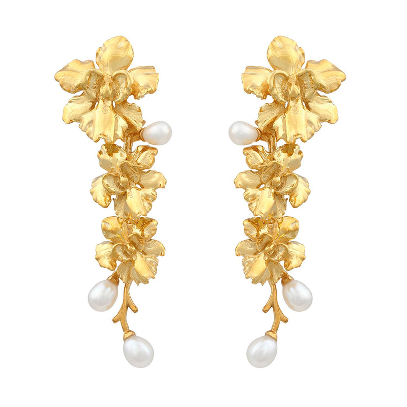 [in]trigue Reminisce Orchid Trio Earrings - Gold-Earrings-DREEMS