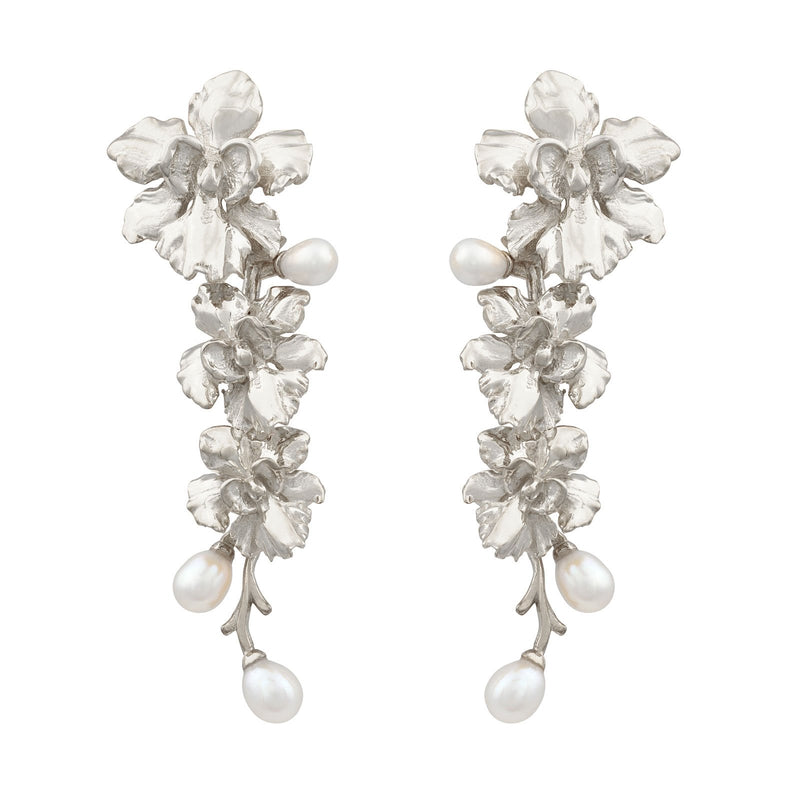 [in]trigue Reminisce Orchid Trio Earrings - Silver-Earrings-DREEMS