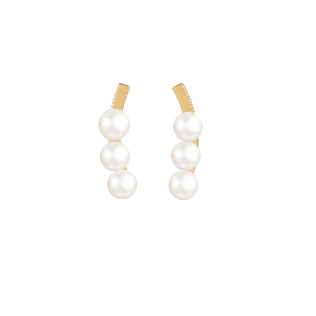 [in]trigue Voyage Pearl Ear Climber - Gold-Earrings-DREEMS
