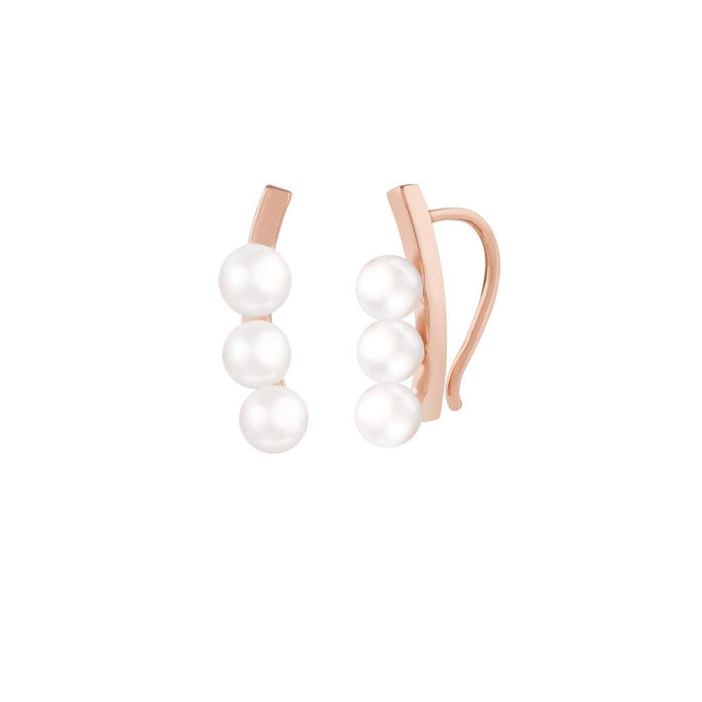 [in]trigue Voyage Pearl Ear Climber – Rose Gold-Earrings-DREEMS