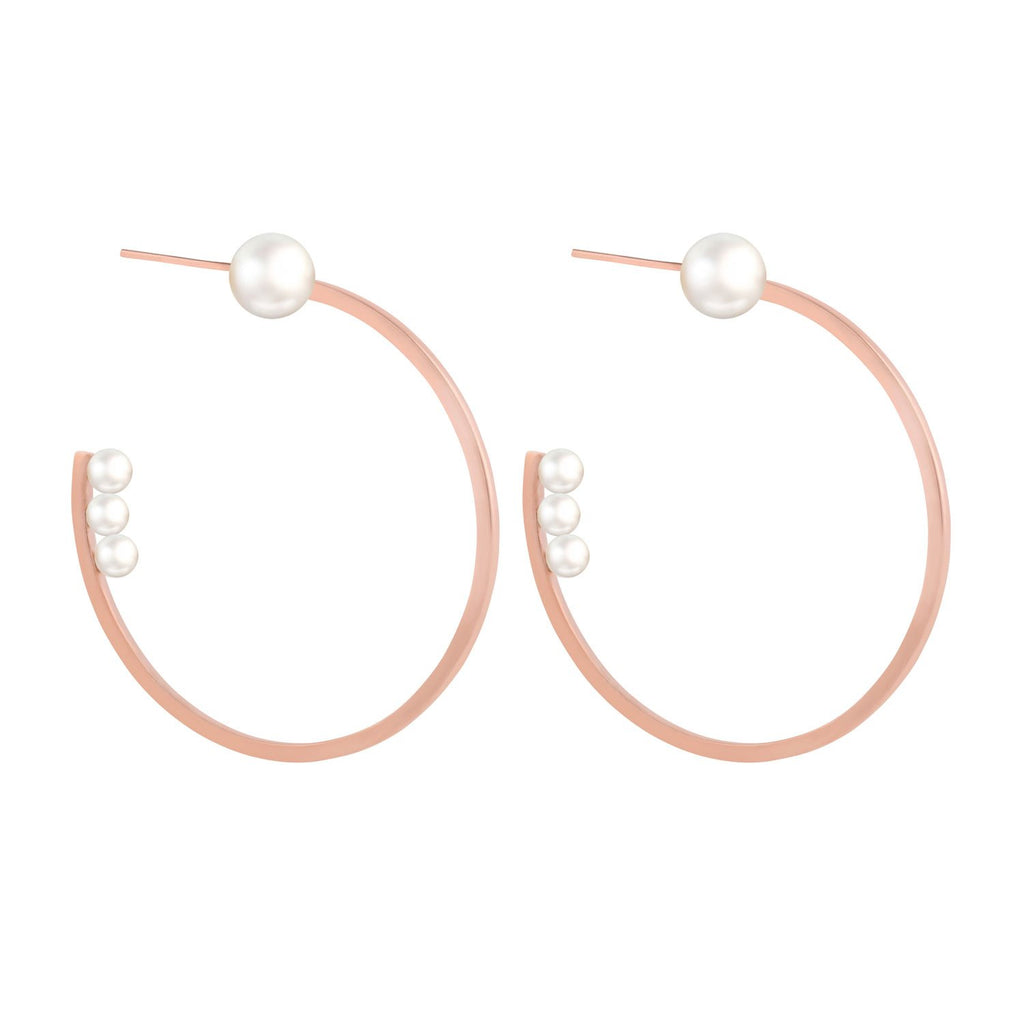 [in]trigue Voyage Pearl Hoop Earrings – Rose Gold-Earrings-DREEMS
