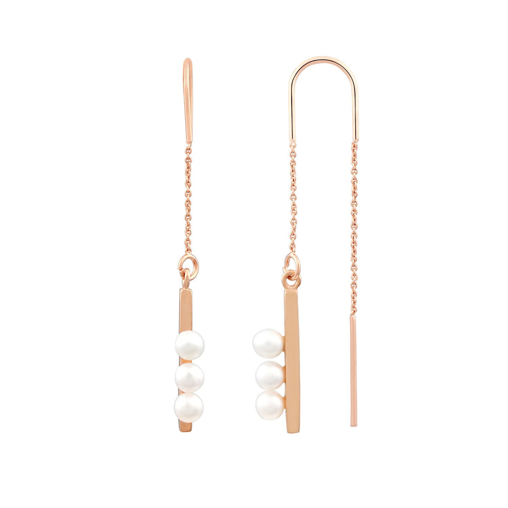 [in]trigue Voyage Pearl Thread Earrings – Rose Gold-Earrings-DREEMS