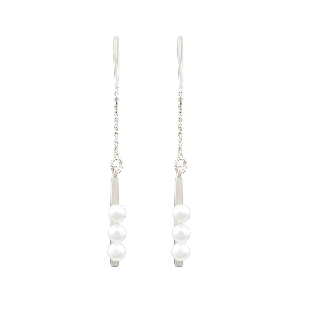 [in]trigue Voyage Pearl Thread Earrings – Silver-Earrings-DREEMS