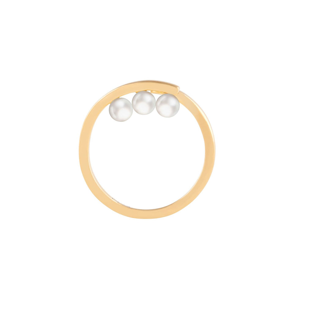 [in]trigue Voyage Pearl Tri Ring - Gold-Rings-DREEMS