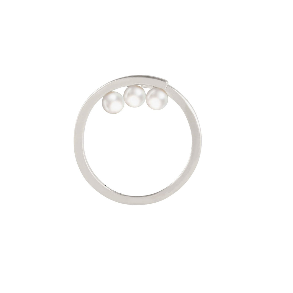 [in]trigue Voyage Pearl Tri Ring - Silver-Rings-DREEMS