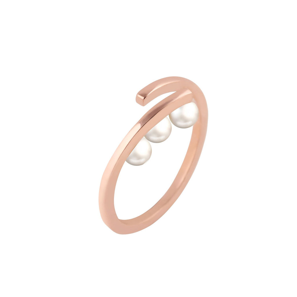 [in]trigue Voyage Pearl Tri Ring – Rose Gold-Rings-DREEMS