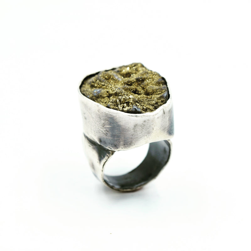 JILL. HERLANDS Gold Druzy Ring-Rings-DREEMS