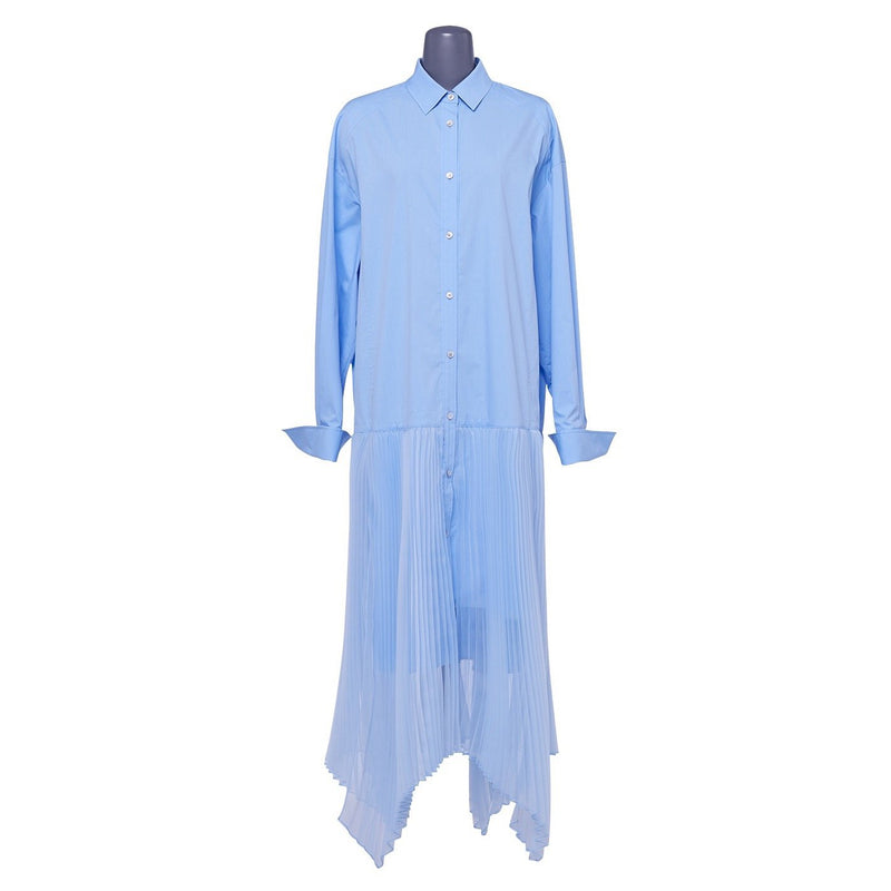 Juun.J Pleats Shirt Dress Blue