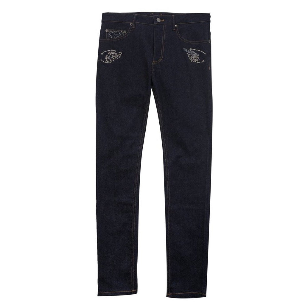 Khoman Room Pascal Embroidered Stretch Denim Jeans-Pants-DREEMS