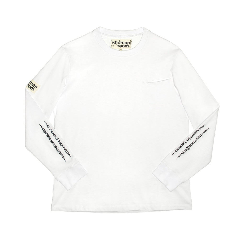 Khoman Room White Sanskrit Long Sleeve-Shirts-DREEMS