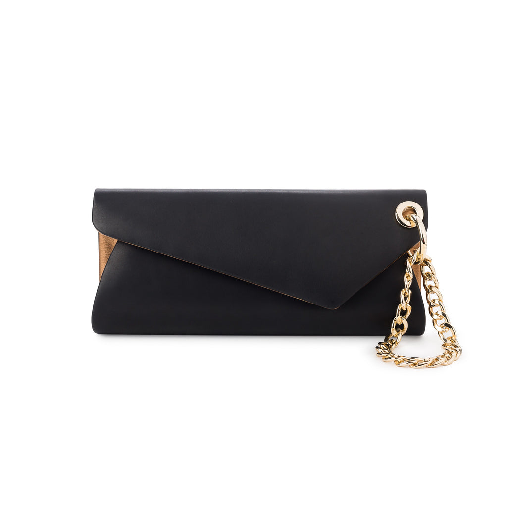 LaLaQueen UnChain My Heart Clutch Black/Gold-Bags-DREEMS