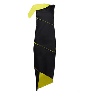 Malaika New York Twist Dress Black/Yellow-Dresses-DREEMS