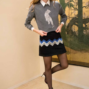 MPJ Chevron Embroidered Miniskirt