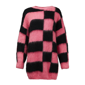 MSGM Check Print Scoop Neck Sweater