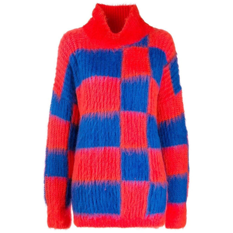 MSGM Check Print Turtleneck sweater