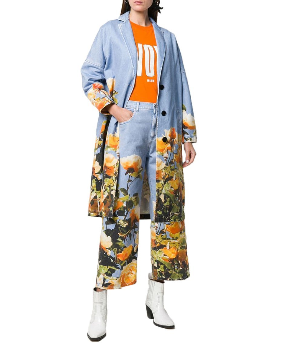 MSGM Denim Coat with Flower Print-Coats-DREEMS
