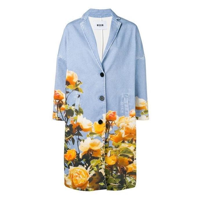 MSGM Denim Coat with Flower Print