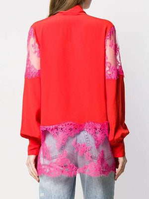 MSGM Lace-trimmed Blouse-Tops-DREEMS